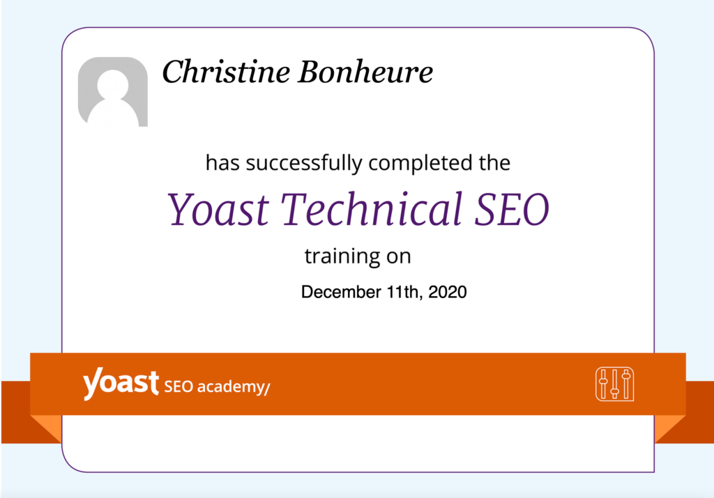 Certificaat Yoast Technical SEO behaald in 2020. Naast zoveel andere.