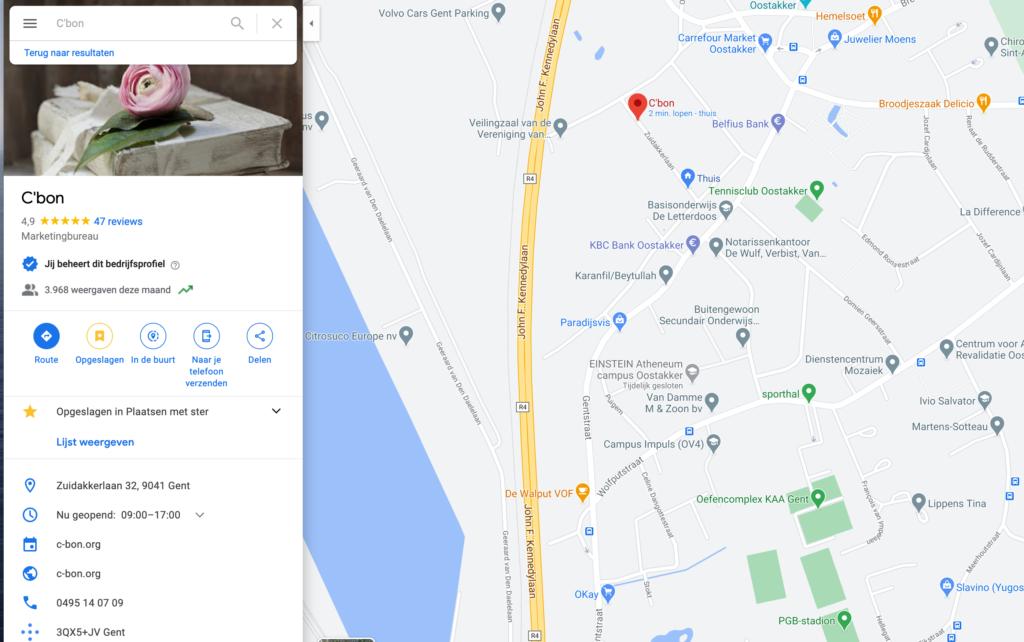 Voordelen van Google Mijn Bedrijf? De gratis opvallende weergave op Google Maps.