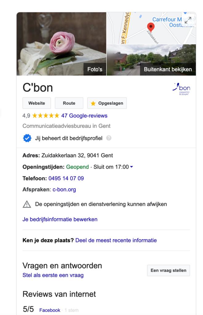 Via Google Mijn Bedrijf sta je maar mooi rechtsboven op de resultatenpagina van Google te blinken!