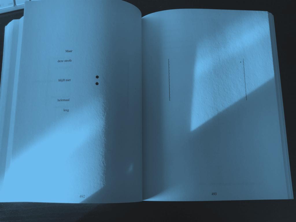 Hoe groter de ruimte in het huis wordt, hoe minder tekst op de pagina's van Het Kaartenhuis van Danielewski.