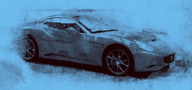 Herman  rijdt rond met een Ferrari, typisch voor een rijkeluiszoontje.