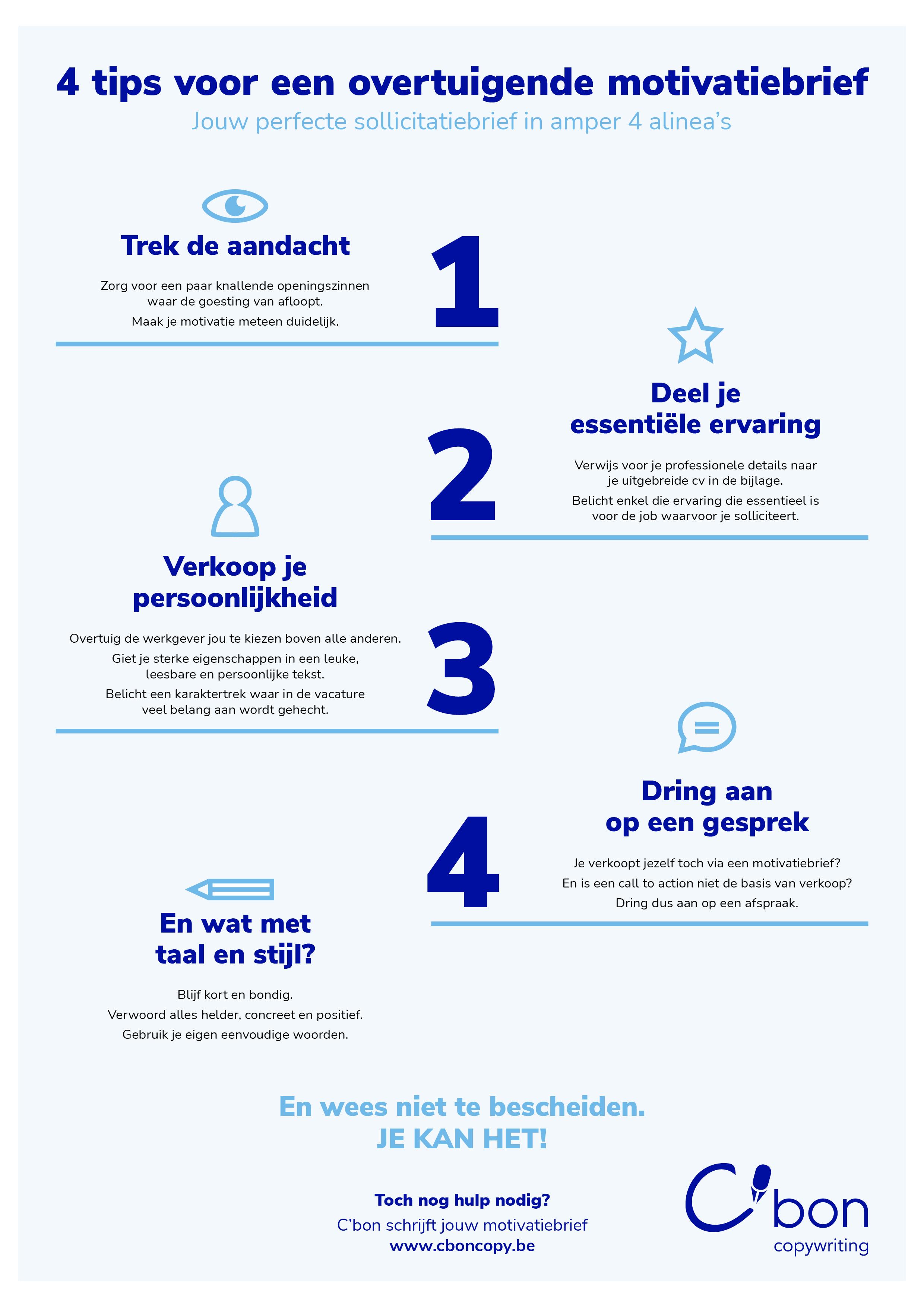 Hoe motivatiebrief opstellen? 4 concrete tips in een infografiek.