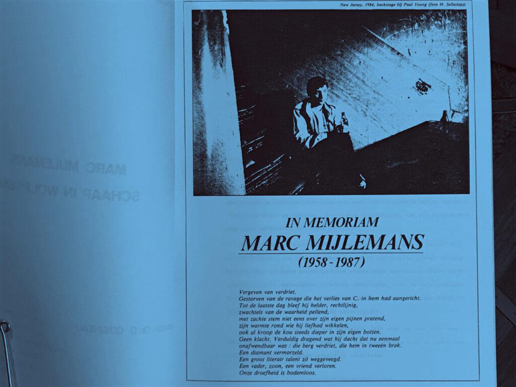 Het In Memoriam van Marc Mijlemans, ook wel gekend als (mm).